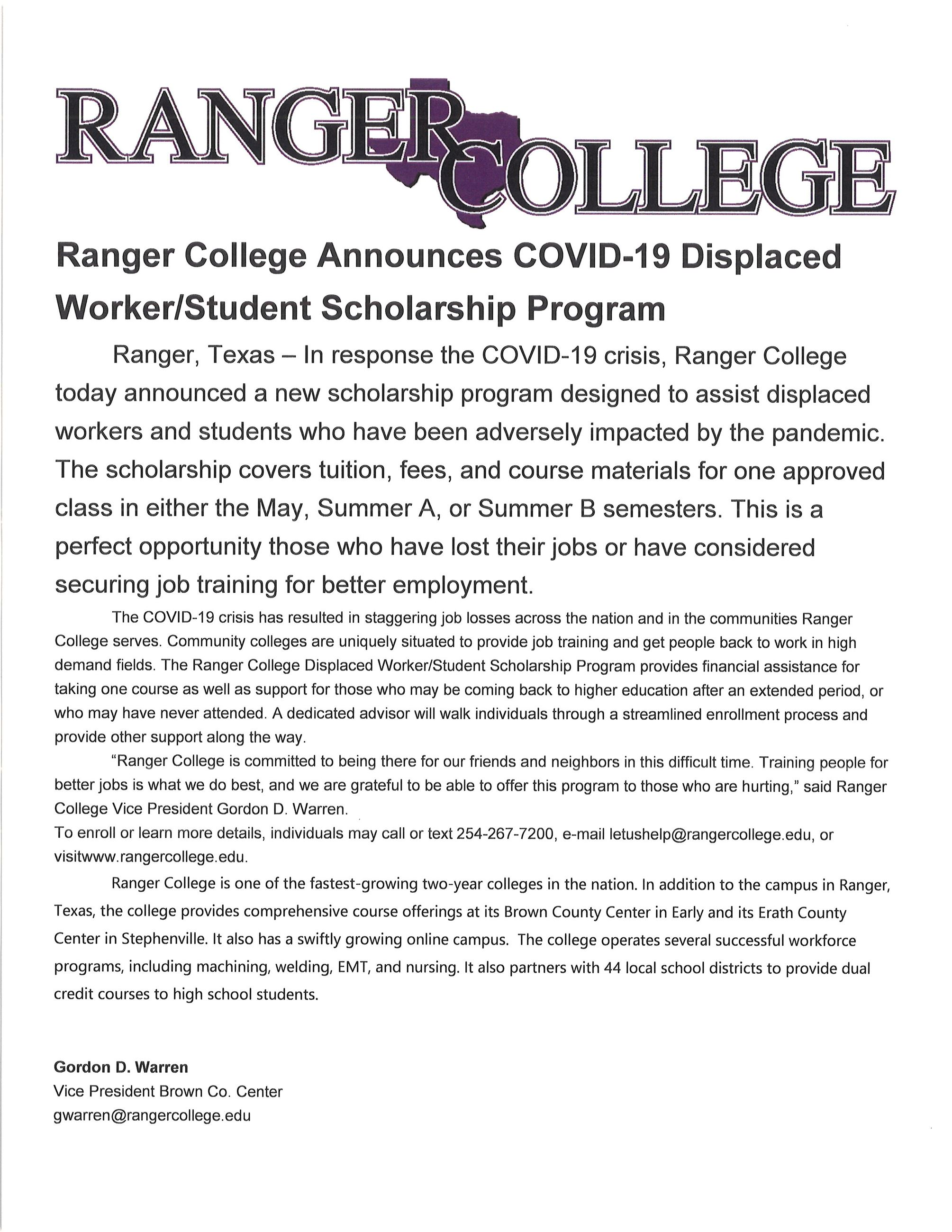 Ranger College Free Tuition